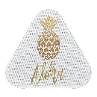 Aloha Tropical Pineapple White Gold Foil Speaker