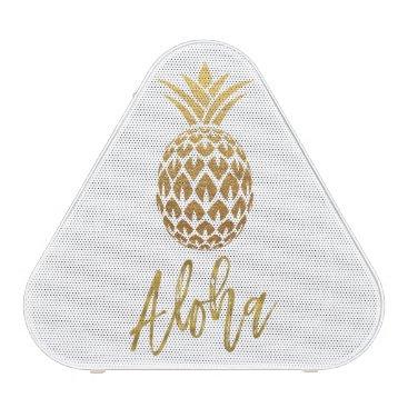 Beach Themed Aloha Tropical Pineapple White Gold Foil Speaker