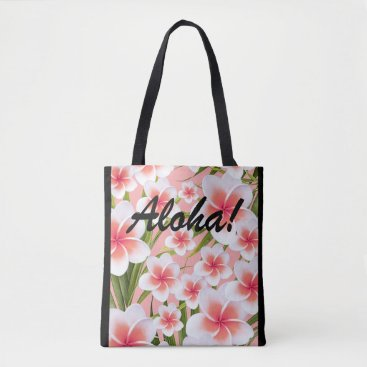 Beach Themed Aloha! Tropical Plumeria Frangipani Flowers pink Tote Bag