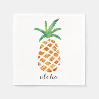 Aloha Tropical Watercolor Pineapple Paper Napkin