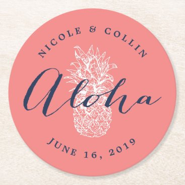 Hawaiian Themed Aloha Tropical Watercolor Pineapple Round Paper Coaster