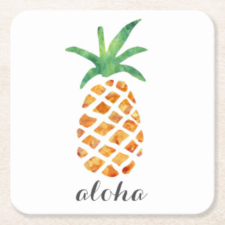 Aloha Tropical Watercolor Pineapple Square Paper Coaster