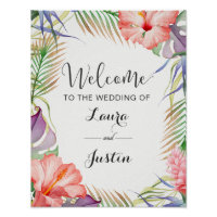 Aloha Tropical Wedding Welcome Poster