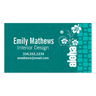 Aloha; Turquoise Squares; Retro Double-Sided Standard Business Cards (Pack Of 100)
