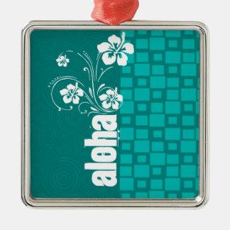 Aloha; Turquoise Squares; Retro Metal Ornament