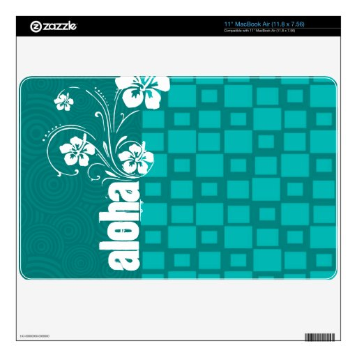 Aloha; Turquoise Squares; Retro Decal For MacBook Air