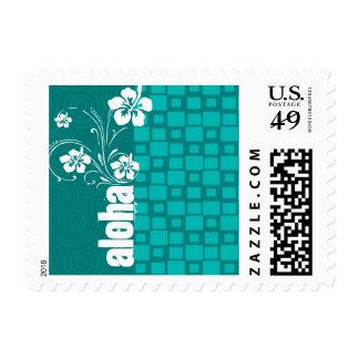 Aloha; Turquoise Squares; Retro Stamp