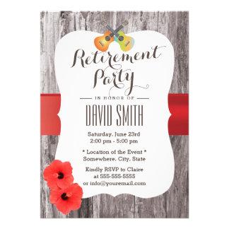 Aloha Ukulele & Hibiscus Wood Retirement Party Announcements