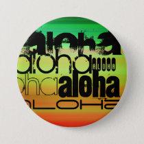 Aloha; Vibrant Green, Orange, & Yellow Button