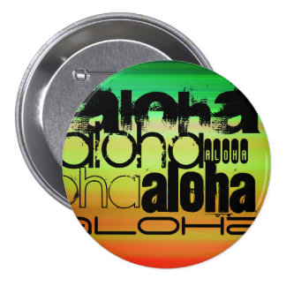 Aloha; Vibrant Green, Orange, & Yellow 3 Inch Round Button