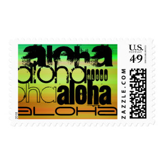 Aloha; Vibrant Green, Orange, & Yellow Postage