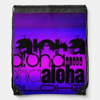 Aloha; Vibrant Violet Blue and Magenta Drawstring Backpack