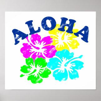 Aloha Vintage Colorful Hawaiian flowers Gift Poster