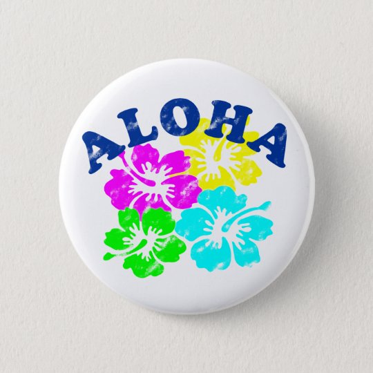 Aloha Vintage Pinback Button Pink Yellow GreenBlue
