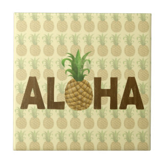 Aloha Vintage Pineapple Hawaiian Hawaii Ceramic Tile