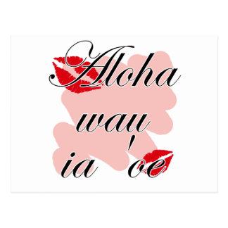 Aloha wau ia 'oe - Hawaiian I love you (2) Red Kis Postcard