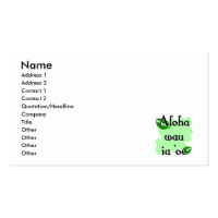 Aloha wau ia 'oe - Hawaiian I love you (3) Green K Business Card Template