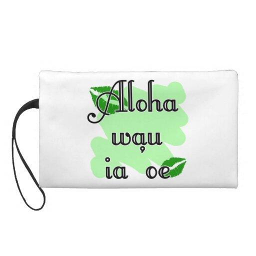 Aloha wau ia 'oe - Hawaiian I love you (4) Green K Wristlets
