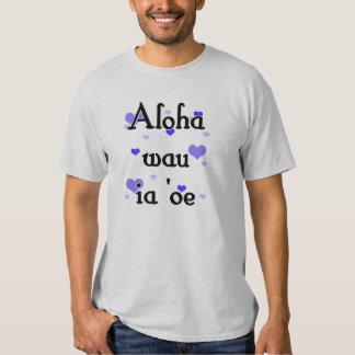 Aloha wau ia 'oe - Hawaiian I love you Blue Hearts T-shirt