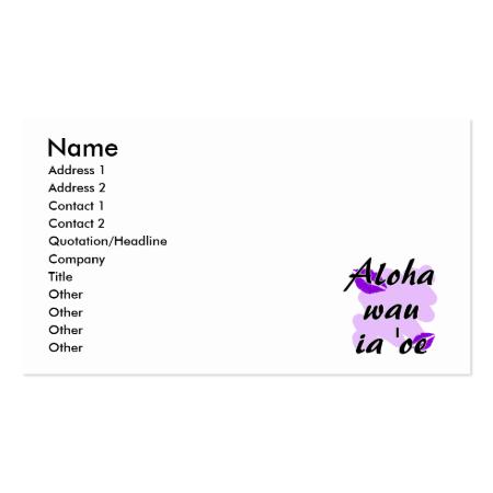 Aloha wau ia 'oe - Hawaiian I love you Purple Kiss Business Card Template