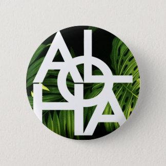 Aloha White Graphic Hawaii Palm Button