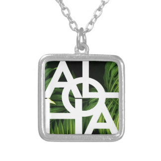 Aloha White Graphic Hawaii Palm Silver Plated Necklace