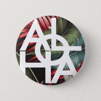 Aloha White Square Red Palm Pinback Button