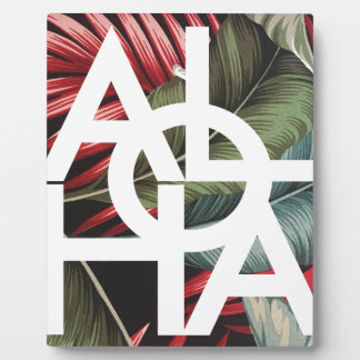 Aloha White Square Red Palm Plaque