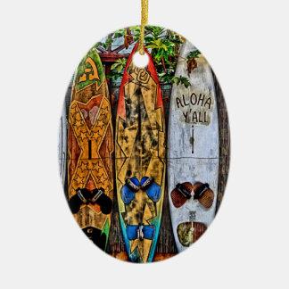 Aloha Y'All Surfboard Ornament