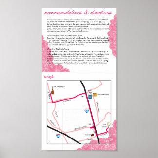 Alojamientos direcciones y mapa rosados del boda impresiones
