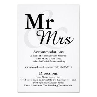 """Alojamientos y direcciones del boda de Mr&Mrs Invitación 3.5"""" X 5"""""""