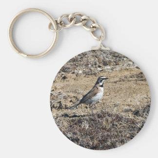 Alondra de cuernos llavero redondo tipo pin