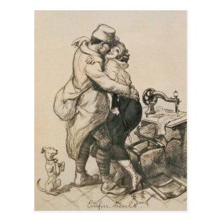 Alone at Last Enfin Seuls World War I Drawing Postcard