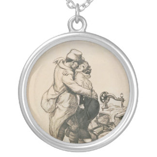 Alone at Last Enfin Seuls World War I Drawing Round Pendant Necklace