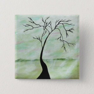 Alone I Waited Abstract Landscape Art Crooked Tree Button