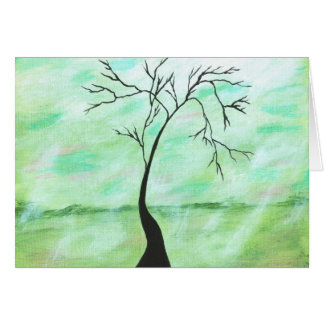 Alone I Waited Abstract Landscape Art Crooked Tree Card