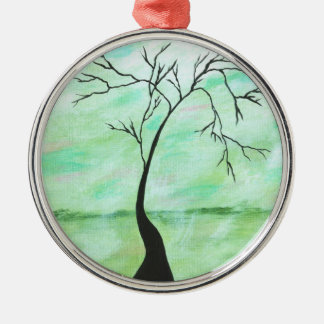 Alone I Waited Abstract Landscape Art Crooked Tree Metal Ornament