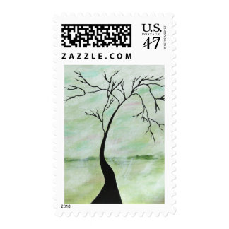 Alone I Waited Abstract Landscape Art Crooked Tree Postage