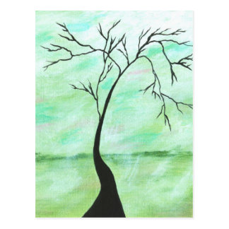 Alone I Waited Abstract Landscape Art Crooked Tree Postcard