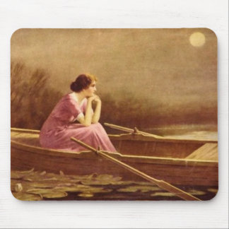 ALONE/Lady on a boat/Vintage Art Mouse Pad