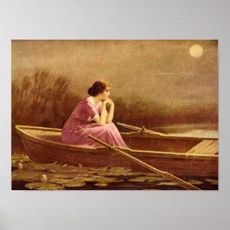 ALONE/Lady on a boat/Vintage Art Poster