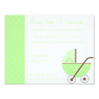 Along Came A Carriage Green Baby Shower Invitation