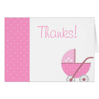 Along Came A Carriage Pink Baby Shower Thank You Card