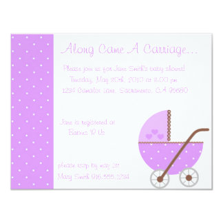 Along Came A Carriage Purple Baby Shower Invitatio Card