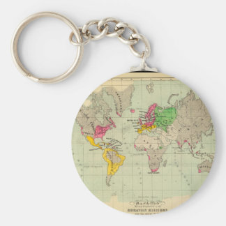 Along in years World Map 14 Keychain