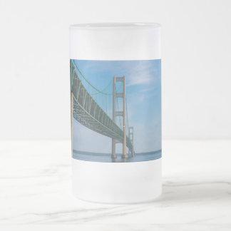 Along Mackinac Bridge Frosted Glass Beer Mug