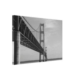 Along Mackinac Bridge Grayscale Canvas Print