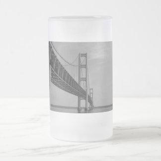 Along Mackinac Bridge Grayscale Frosted Glass Beer Mug