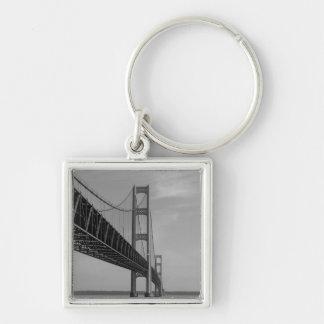 Along Mackinac Bridge Grayscale Keychain