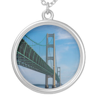 Along Mackinac Bridge Silver Plated Necklace